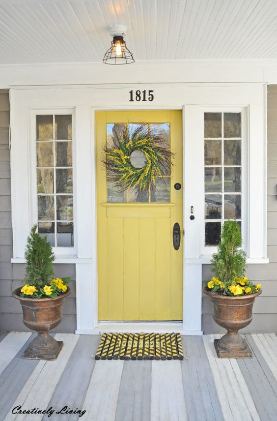 yellow front door, front entrance, front door