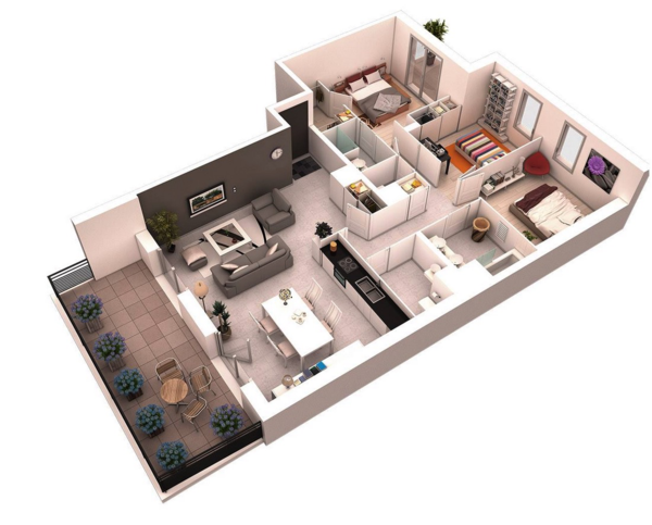 3d floor plans for apartment with 3 bedrooms and terrace