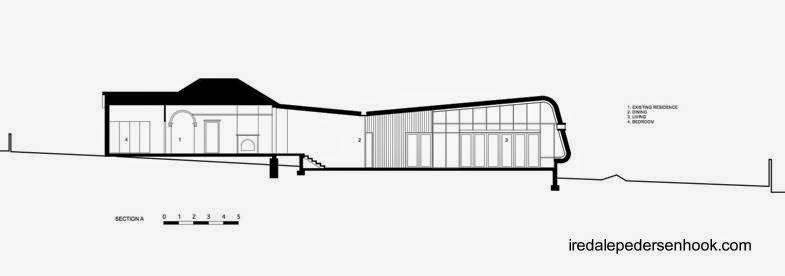 Plano arquitectónico de un corte a lo largo de toda la construcción