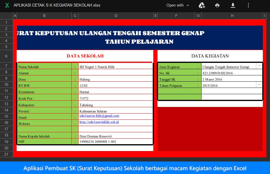 Aplikasi Pembuat SK (Surat Keputusan) Sekolah berbagai macam Kegiatan dengan Excel