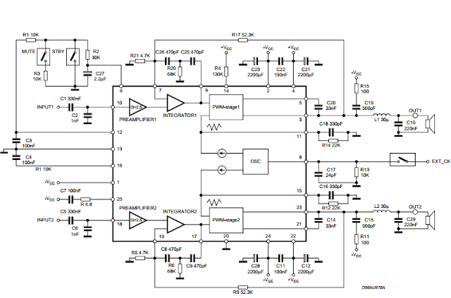 TDA7490 Audio Amplifier 2 x 25W / 1 x 50W circuit diagram