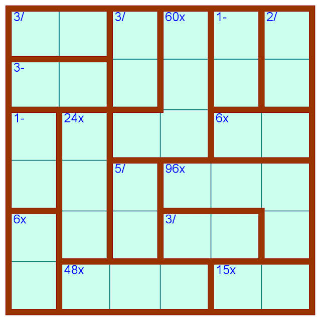 Mathdoku or Calcudoku 6x6