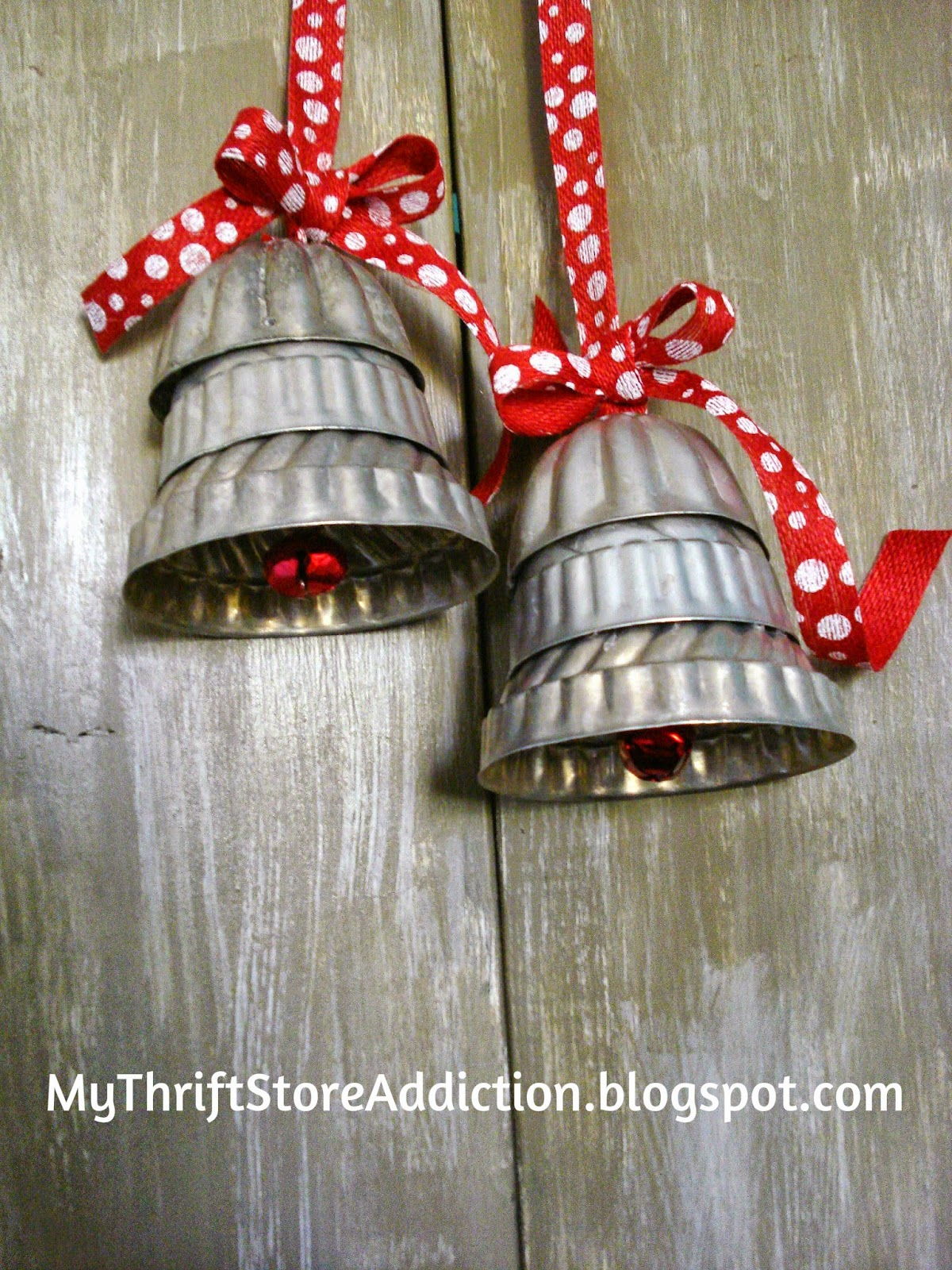 Repurposed jello mold silver bells