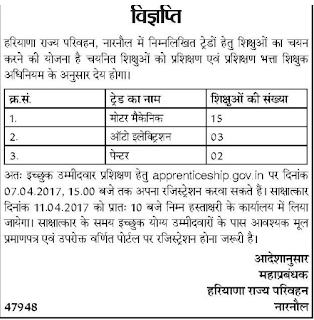 Haryana Roadways Narnaul apprenticeship notice