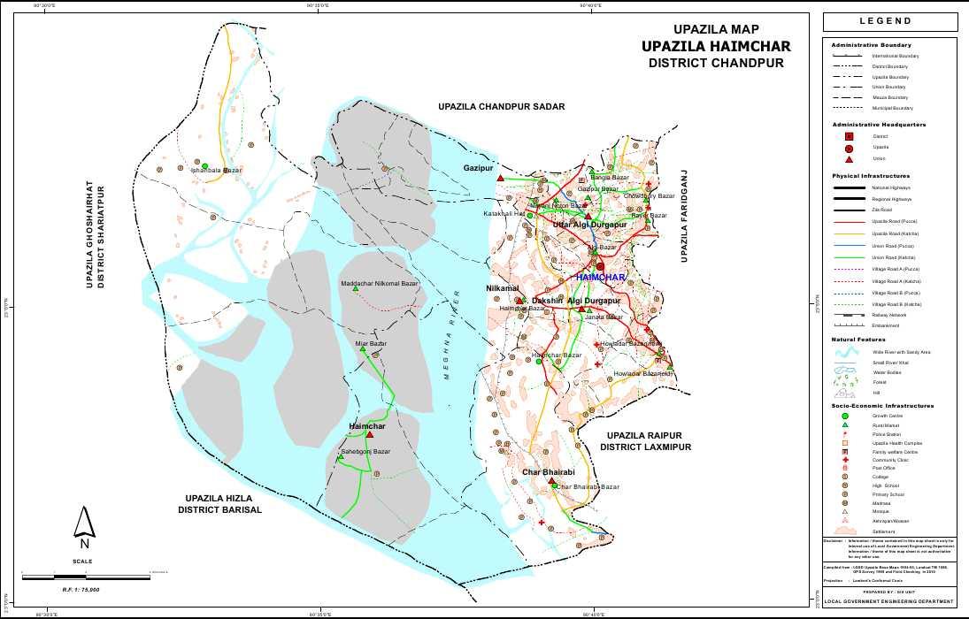 Haimchar Upazila Map Chandpur District Bangladesh