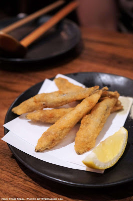 Kibinago Furai Five Fried Silver-Stripe Round Herring at Raku in New York City