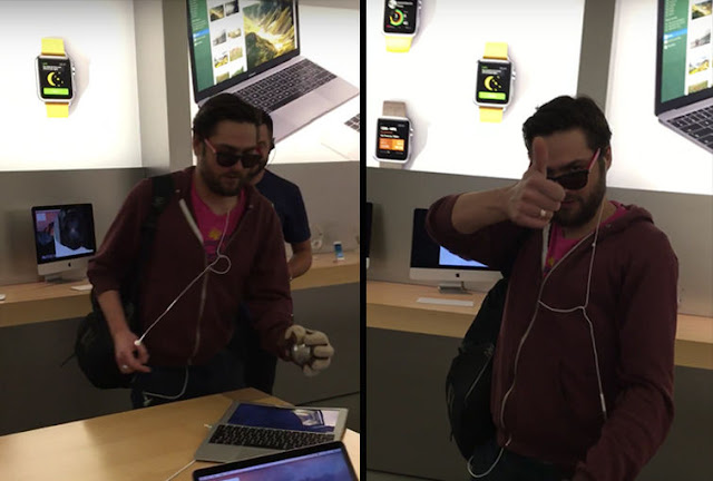 شاب فرنسي يقوم بتكسير هواتف الايفون وحواسيب محمولة في متجر آبل بفرنسا
