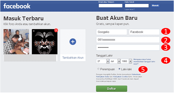 cara membuat akun baru di facebook