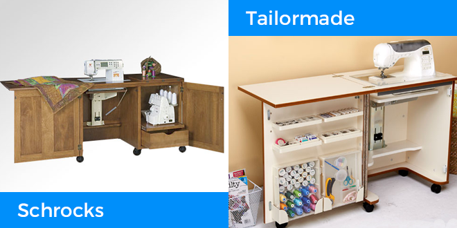 The Schrocks Duo and Tailormade Compact Sewing Cabinet are featured in this sewing table buying guide.