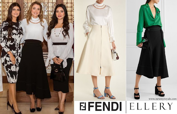 Queen Rania wore FENDI High cut-out neck satin blouse and ELLERY belted asymmetric crêpe midi skirt