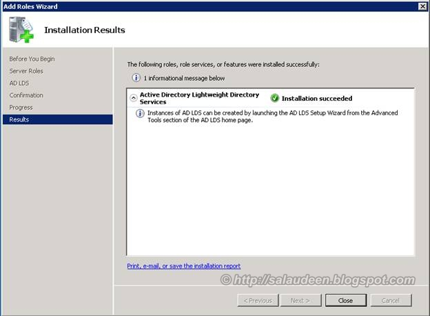 completed Installing Active Directory Lightweight Directory Services Role