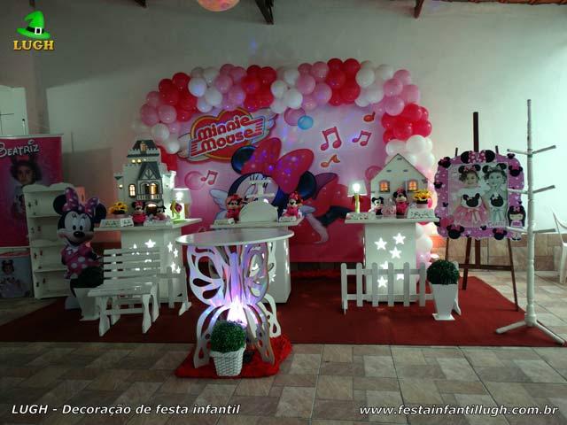 Decoração festa de aniversário infantil Minnie rosa - Provençal simples