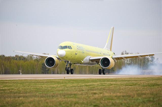 mc-21 touch down runway on flight test