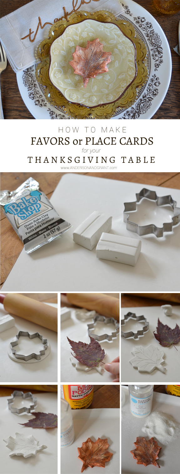 How to make DIY leaf favor or place cards for you Thanksgiving Table | www.andersonandgrant.com