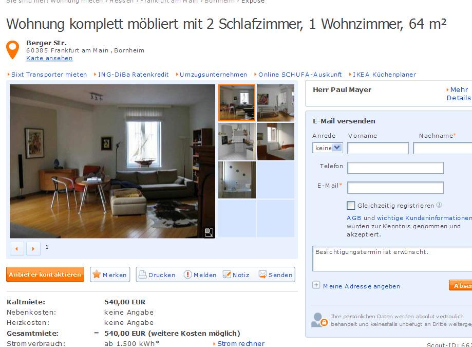 wohnung komplett m bliert mit 2 schlafzimmer 1 wohnzimmer 64 m. Black Bedroom Furniture Sets. Home Design Ideas