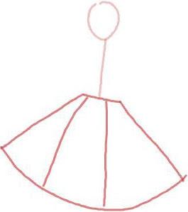 Langkah 2. Sketsa Cepat Gaun Rok Payung Pendek