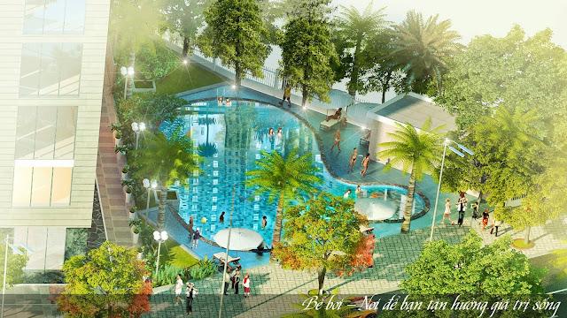 Bể bơi tại chung cư Lộc Ninh.