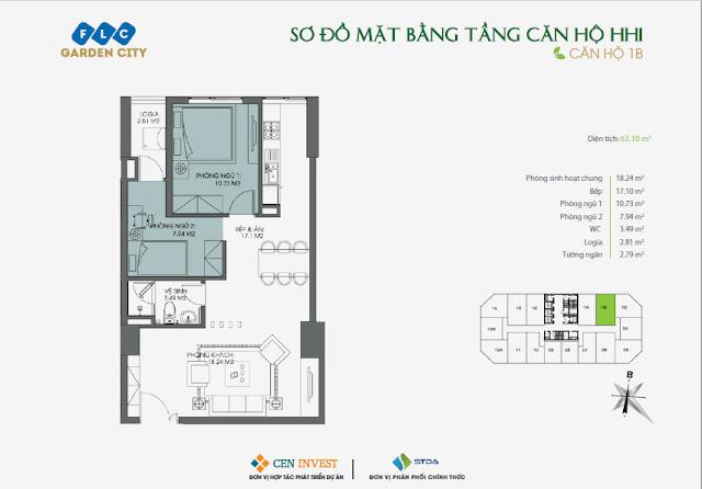 Thiết kế căn hộ 1B, 63m, HH1 FLC Garden City