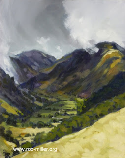 Lancashire artist Rob Miller paints Seathwaite in midsummer rain