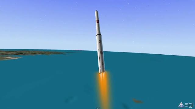 Hình ảnh mô phỏng tên lửa Unha-3 ra mắt tháng 4 năm ngoái. Hình ảnh: Analytical Graphics, Inc.