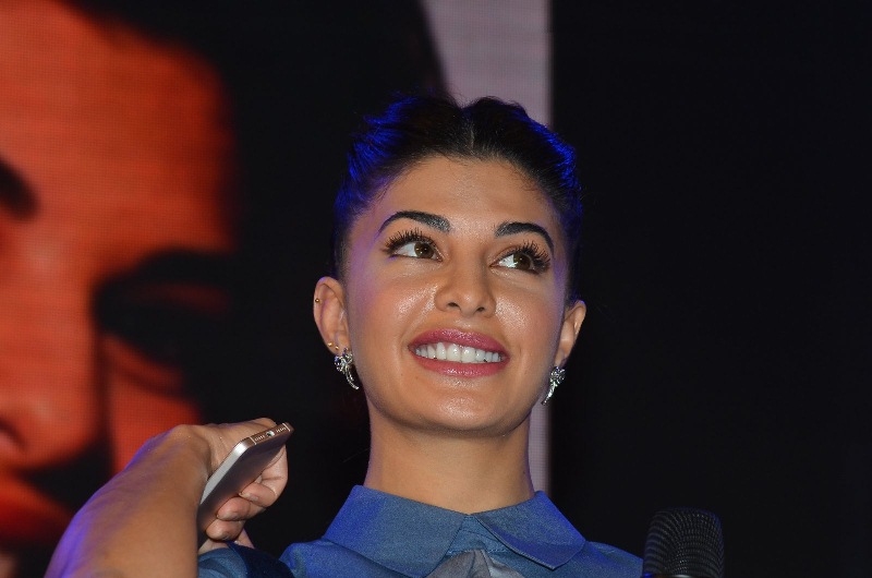 Hindi Actress Jacqueline Fernandez 2017 Hot In Blue Dress