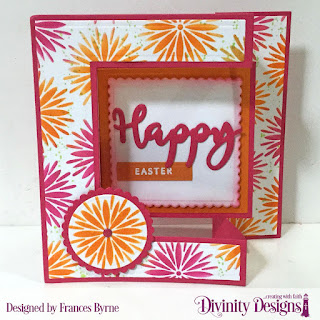 Divinity Designs Stamp/Die Duos: Happy, Custom Dies: Tri-Fold Card with Layers, Scalloped Circles, Scalloped Squares  Mixed Media Stencil: Flower Burst