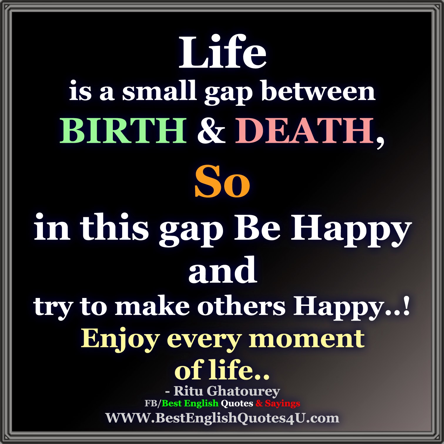 Life Is A Small Gap Between BIRTH & DEATH...