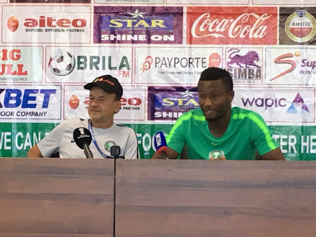 Mikel and gernort rohr during press conference pre-iceland