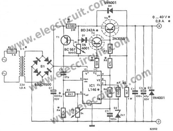 circuit diagram regulated dc power supply variable output