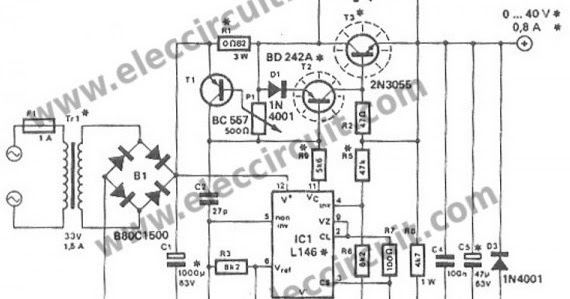 1a regulated power supply circuit diagram
