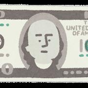 旧100ドル札のイラスト(お金・紙幣)
