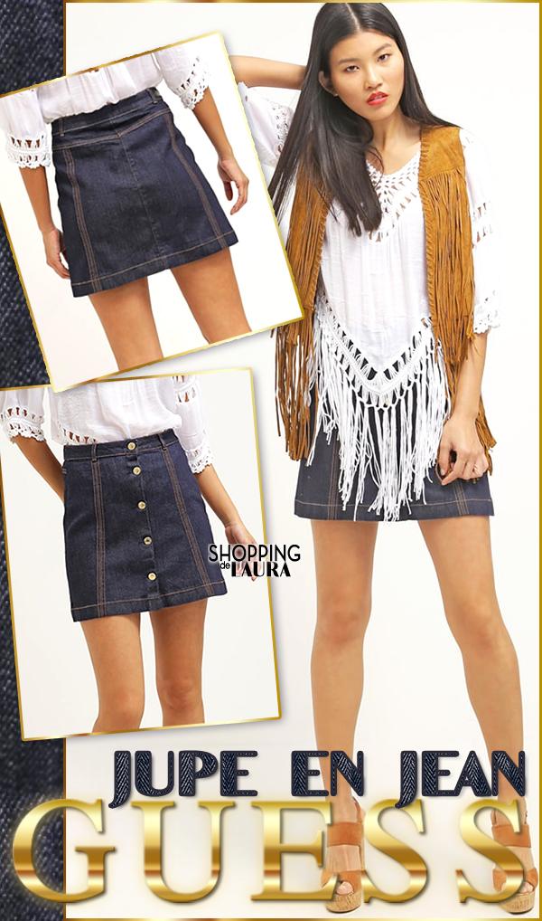 Jupe courte en jean trapèze boutonnée GUESS
