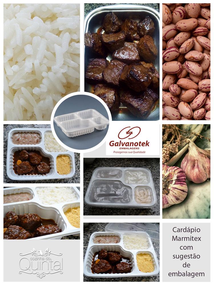Cardápio Completo para o seu Marmitex com sugestão de embalagem Galvanotek na Cozinha do Quintal