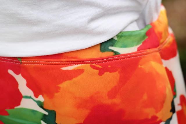 Itch to Stitch Lindy Petal Skirt, Mood Fabrics Scuba knit- coverstitch waistband
