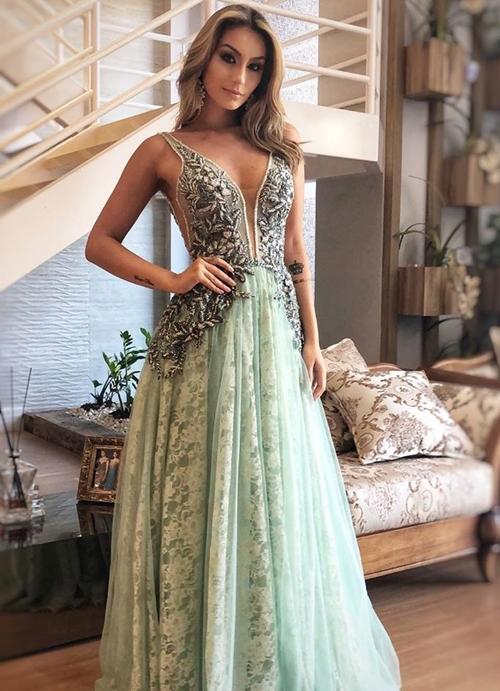 vestido de festa verde claro longo
