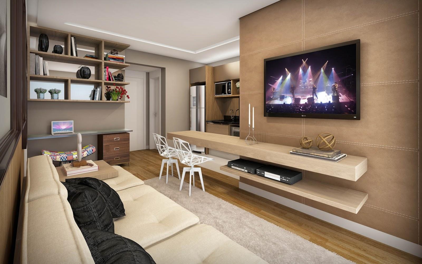 Construindo minha casa clean 20 home office pequenos na for Salas de television modernas
