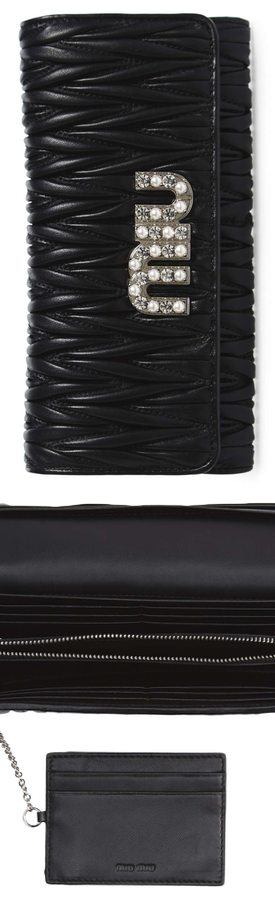 MIU MIU Embellished Logo Matelassé Leather Continental Wallet
