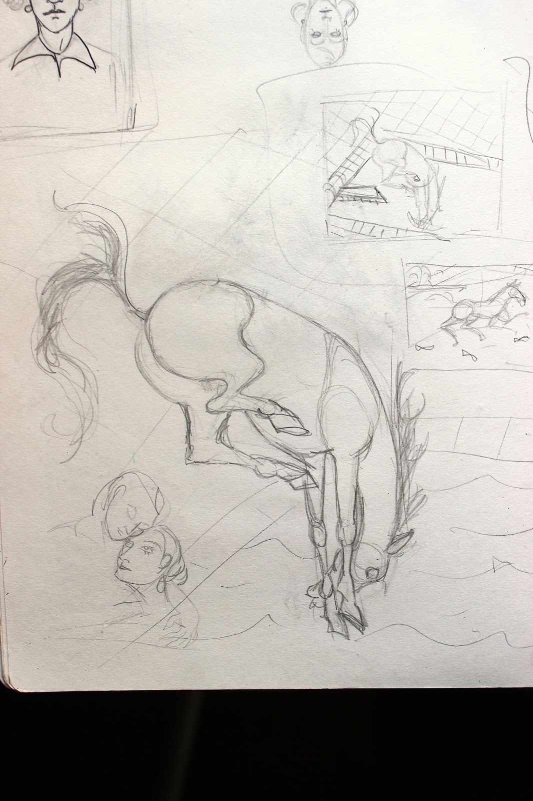 Sketchpad Notebook Sketch Drawing Pencil Plunging Horse