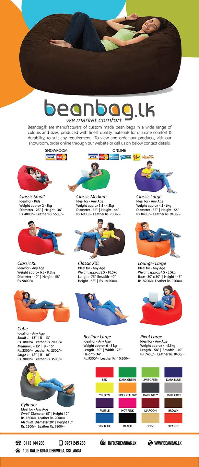Comfortable beanbags from Beanbag.lk.