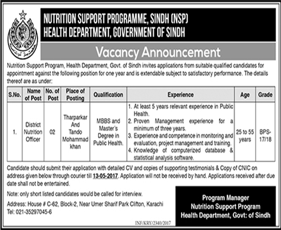 Newspaper jobs in Health Department Sindh Government 30 april 2017