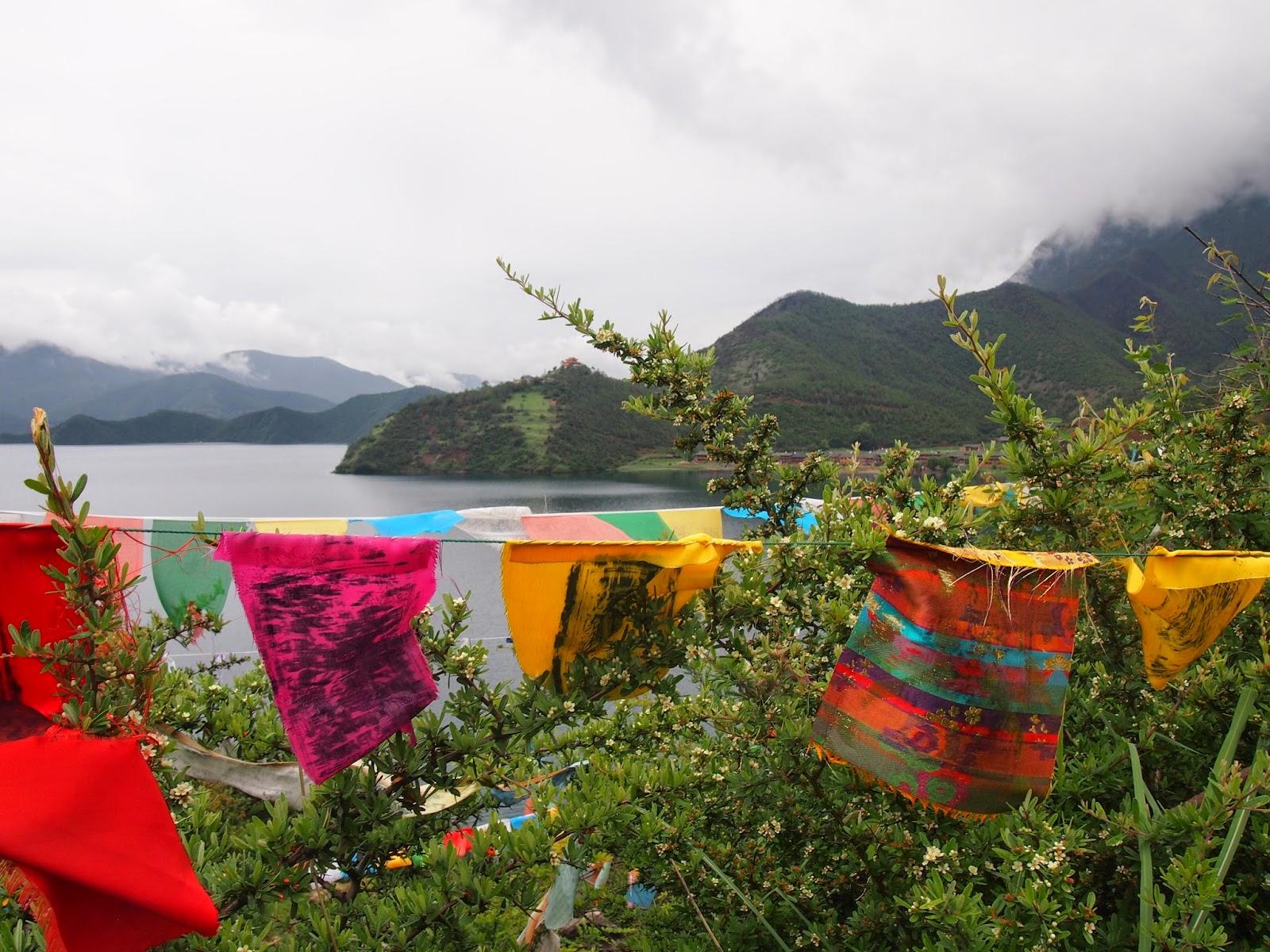 Prayer flags around Lugu Lake