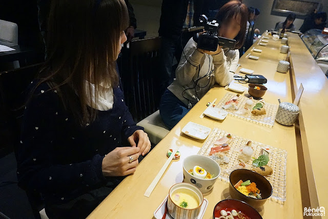 Shooting for Fukuoka city at a sushi shop