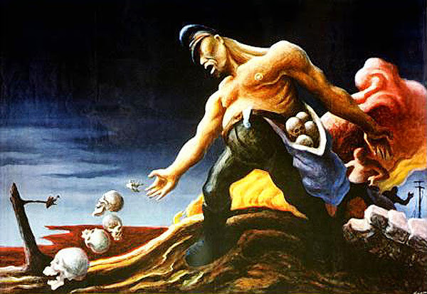 The Sowers by Thomas Hart Benton, Martyrdom of Evangelist John by Stefan Lochner, Macabre Art, Macabre Paintings, Horror Paintings, Freak Art, Freak Paintings, Horror Picture, Terror Pictures