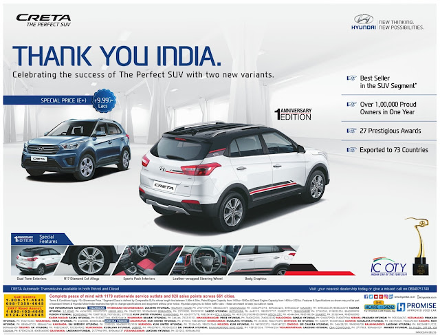 Hyundai Creta Anniversary editions with lowest price | August 2016 discount offers
