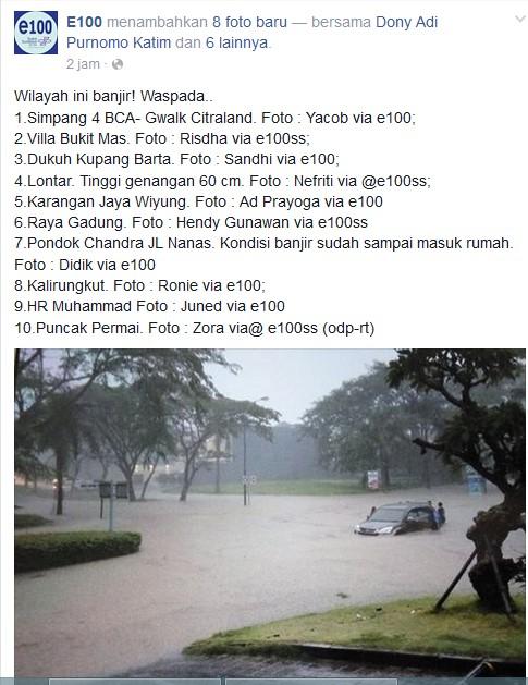 Simpang 4 BCA G-Walk banjir