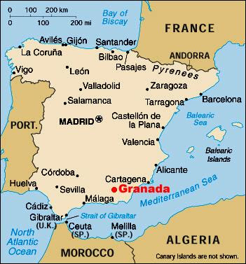 Granada on the map