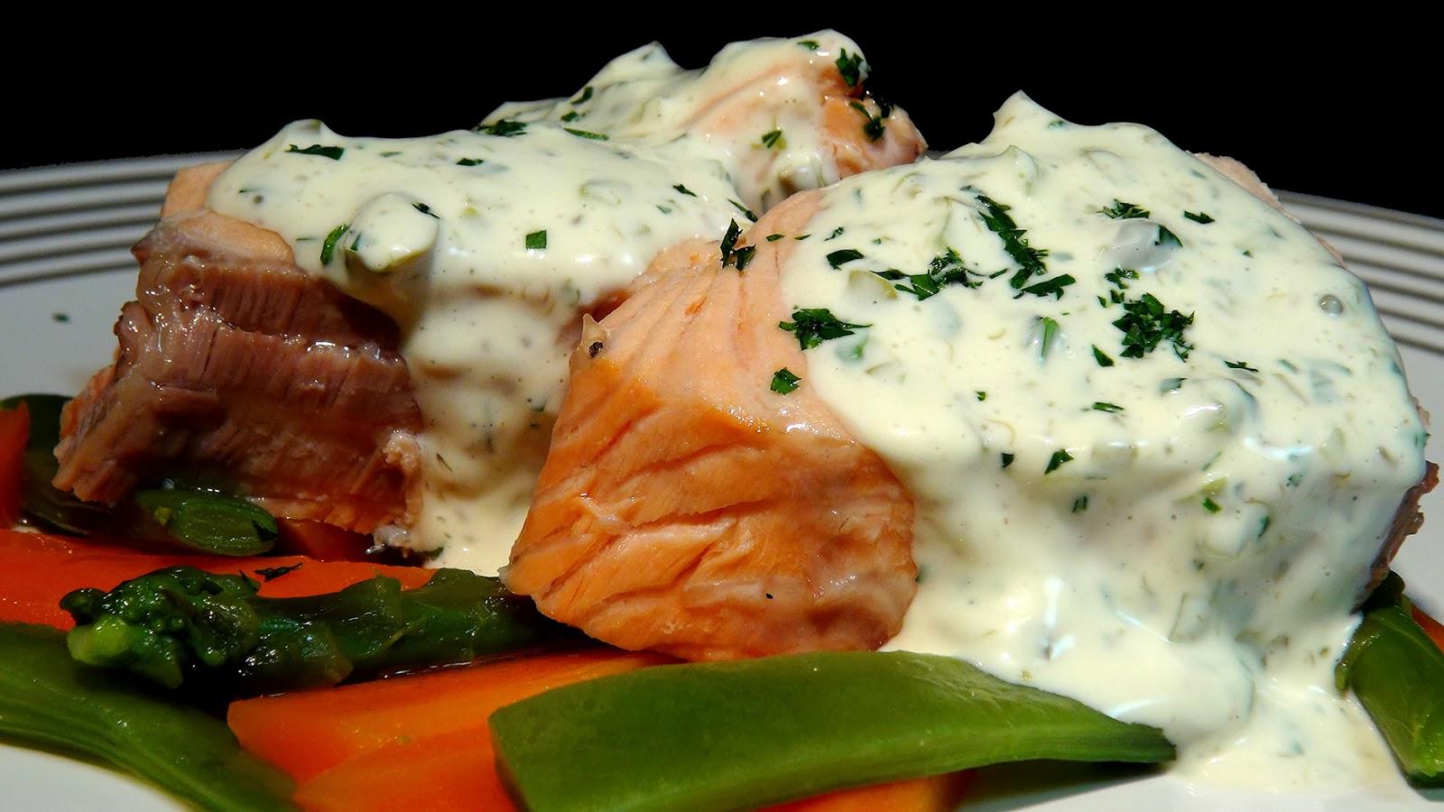 Cocinar para los amigos salm n cocido con verduras y - Salsa para bogavante cocido ...