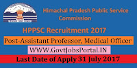 Himachal Pradesh Public Service Commission Recruitment 2017– 290 Assistant Professor, Medical Officer