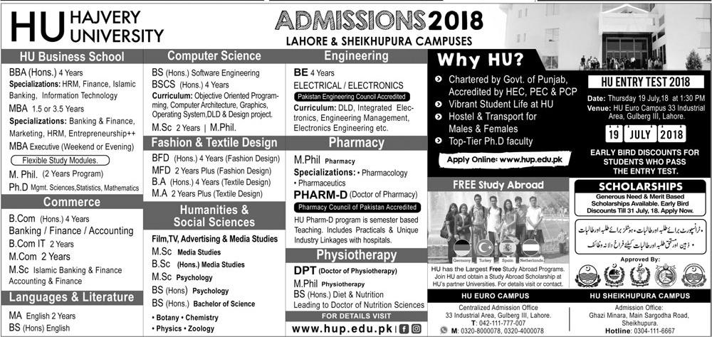 Hajvery University Lahore and Sheikupura Campuses Admissions