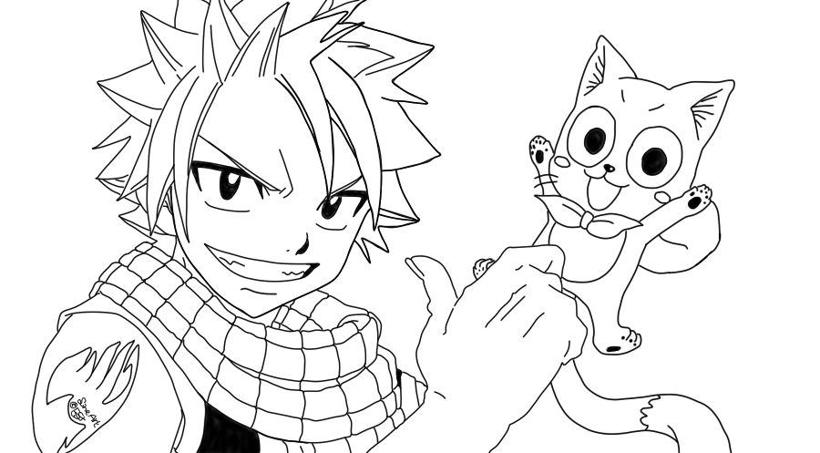 Click to see printable version of Natsu And Happy Coloring page